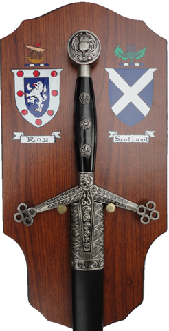 "42"" Mounted Claymore Sword with 2 Hand Painted Coat of Arms Shields"