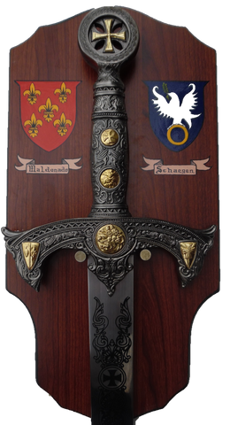 "42 "" Mounted Crusader Sword with 2 Hand Painted Coat of Arms Shields"