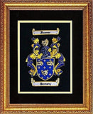 "14"" X 18"" Masterpiece Hand Embroidery Coat of Arms Free US S&H"