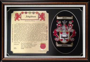 "11' x 17"" Family History and Embroidery Framed Tribute Style w/Free U.S. S&H"