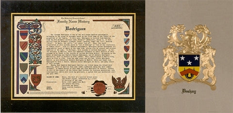 Embossed Coat of Arms and Family Name History W/Free US S&H