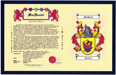 "Tribute Coat of Arms & Family Name History buy 1 get 1 FREE ""Get a FREE item unframed of same name"""