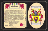 "11"" X 17"" Tribute Coat of Arms & Family Name History W/Free US S&H"