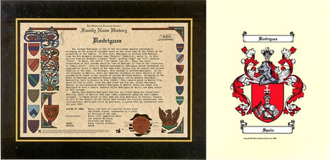 Family Name History and Color Coat of Arms w/Free US S&H