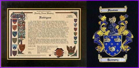 Family name history and embroidered coat of arms