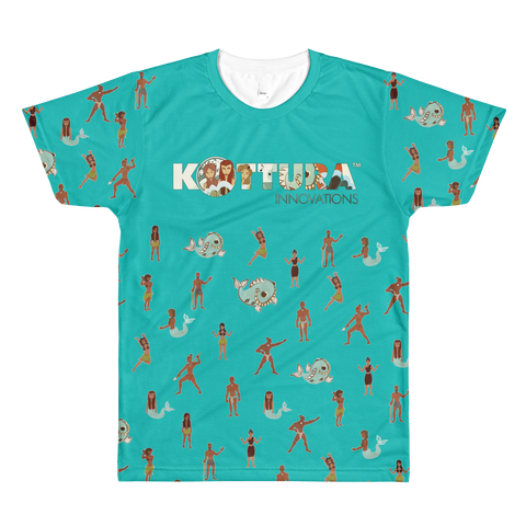 Adult Tees Takes A Village All-Over Teal Tee: Adult - Kottura Innovations