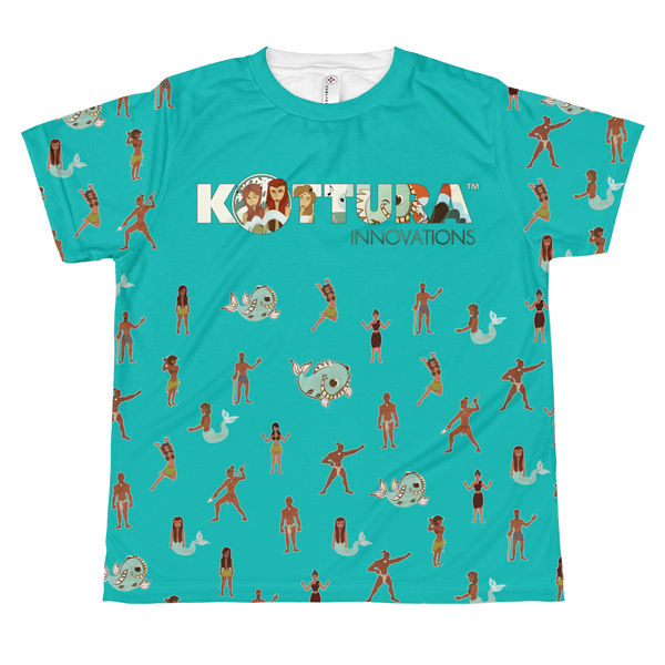 Youth Tees Takes A Village All Over Teal Tee: Youth - Kottura Innovations