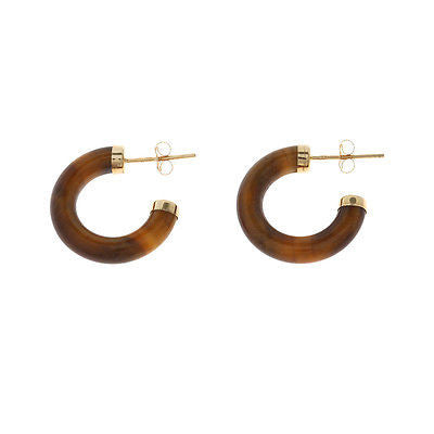 19 mm. Genuine Natural Tiger Eye X-Small Size Hoop Earrings 14kt Yellow Gold