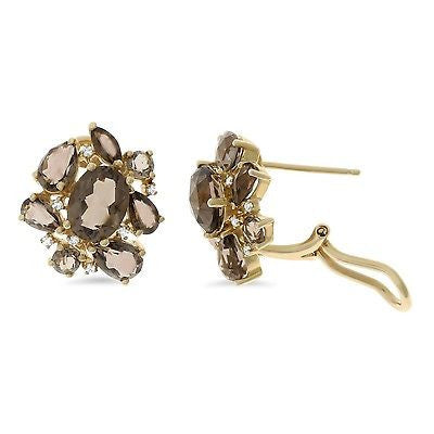 5.72ctw Genuine Natural Smoky Quartz and Diamond Earrings 14kt Yellow Gold