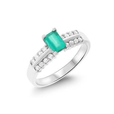 0.79ctw Genuine Natural Emerald and Diamond Ring Size 6.5 18kt White Gold