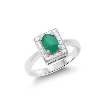 1.04ctw Genuine Natural Emerald and Diamond Ring Size 6.5 18kt White Gold