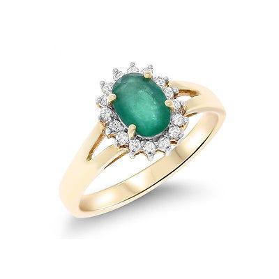 0.66ctw Genuine Natural Emerald and Diamond Ring Size 6 14kt Yellow Gold