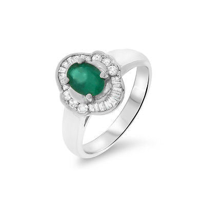 0.94ctw Genuine Natural Emerald and Diamond Ring Size 6.5 18kt White Gold
