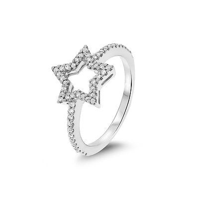 0.24ctw Genuine Natural Diamond Open Star Ring Size 6 14kt White Gold