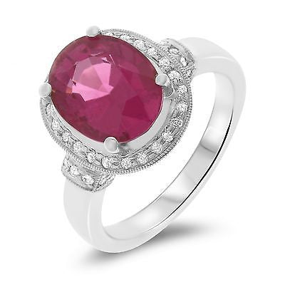 2.66ctw Genuine Natural Rubellite and Diamond Ring Size 7.25 18kt White Gold