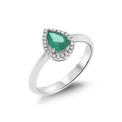 0.64ctw Genuine Natural Emerald and Diamond Ring Size 6.5 14kt White Gold