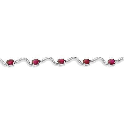 "7"" 6.23ctw Genuine Natural Ruby and Diamond Bracelet 14kt White Gold"