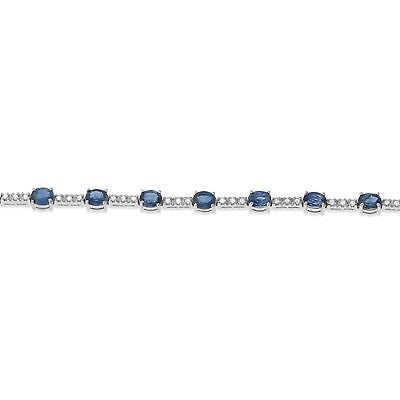 "7"" 7.29ctw Genuine Natural Blue Sapphire and Diamond Bracelet 18kt White Gold"