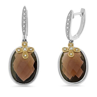 15.79ctw Genuine Natural Smoky Quartz and Diamond Earrings 14kt White Gold