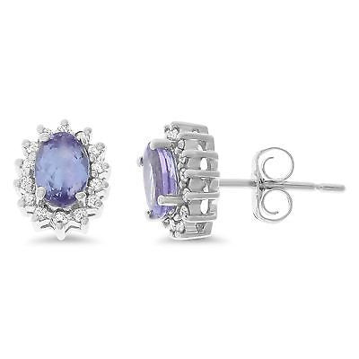 1.20ctw Genuine Natural Tanzanite and Diamond Earrings 14kt White Gold