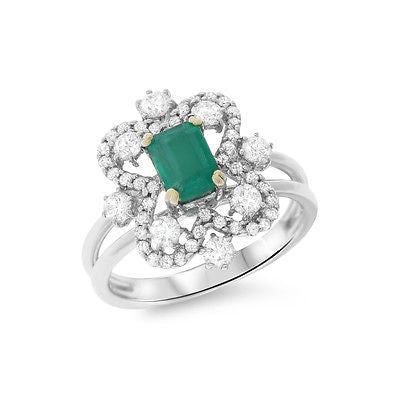 1.68ctw Genuine Natural Emerald and Diamond Ring Size 6.75 18kt White Gold