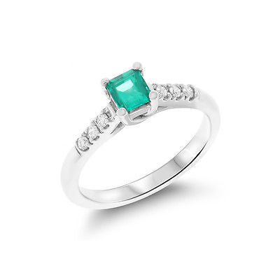 0.56ctw Genuine Natural Emerald and Diamond Ring Size 6.5 14kt White Gold