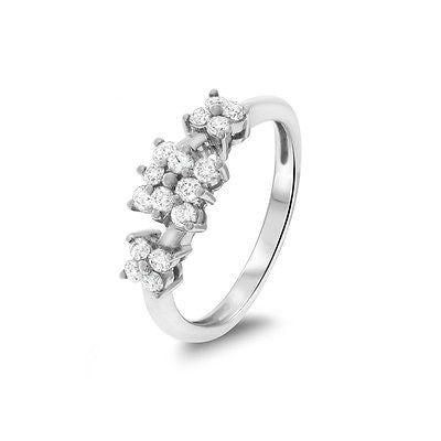 0.58ctw Genuine Natural Diamond Flower Ring Size 7 18kt White Gold