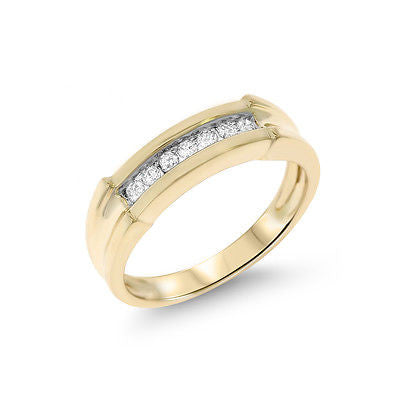 0.15ctw Genuine Natural Diamond Band Ring Size 6.75 14kt Yellow Gold