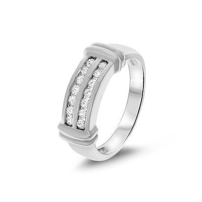 0.32ctw Genuine Natural Diamond 2 Rows Band Ring Size 6.5 14kt White Gold
