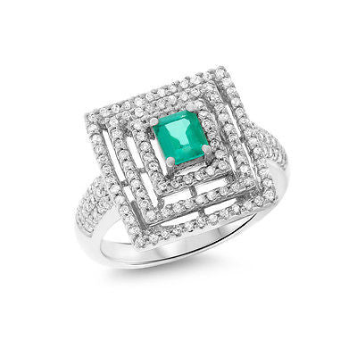 1.11ctw Genuine Natural Emerald and Diamond Ring Size 7.25 18kt White Gold
