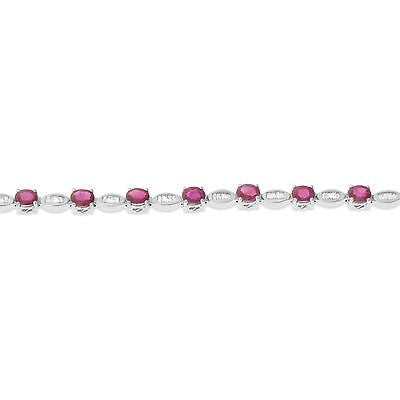 "7"" 6.79ctw Genuine Natural Ruby and Diamond Bracelet 18kt White Gold"