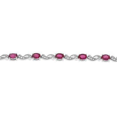 "7"" 6.49ctw Genuine Natural Ruby and Diamond Bracelet 18kt White Gold"
