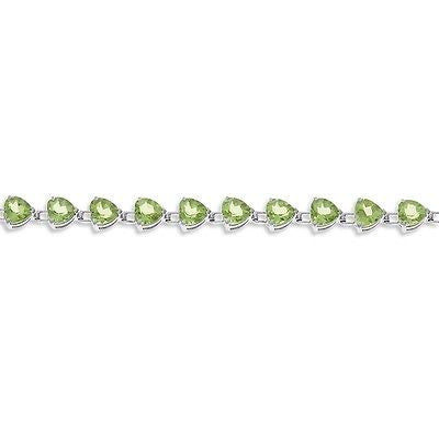 "7"" 16.90ctw 6 mm. Heart Genuine Natural Peridot Bracelet .925 Sterling Silver"