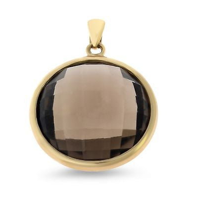 19.59ctw Genuine Natural Smoky Quartz Round Shaped Pendant 14kt Yellow Gold