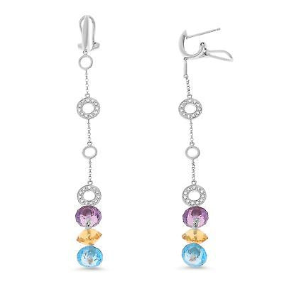 11.33ctw Genuine Natural Multi-Gemstone and Diamond Earrings 14kt White Gold