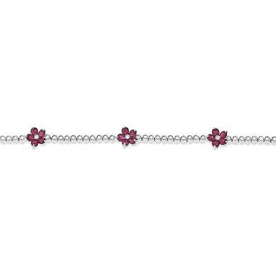 "7"" 5.73ctw Genuine Natural Ruby and Diamond Bracelet 18kt White Gold"