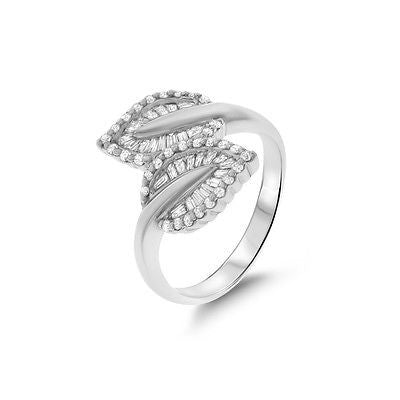 0.62ctw Genuine Natural Diamond Leaf Ring Size 7 18kt White Gold