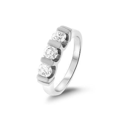 0.75ctw Genuine Natural Diamond 3 Stones Band Ring Size 5 14kt White Gold