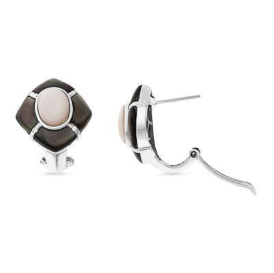 0.08ctw Genuine Natural Pink + Black Mother of Pearl and Diamond Earrings 14kt White Gold