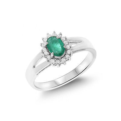 0.61ctw Genuine Natural Emerald and Diamond Ring Size 7 14kt White Gold