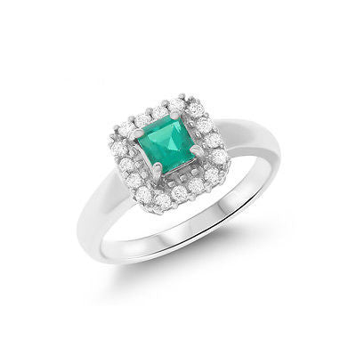 0.88ctw Genuine Natural Emerald and Diamond Ring Size 7.25 18kt White Gold