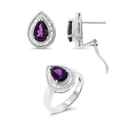 4.74ctw Genuine Natural Amethyst and Diamond Set 14kt White Gold
