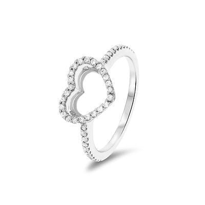 0.24ctw Genuine Natural Diamond Open Heart Ring Size 6.25 14kt White Gold