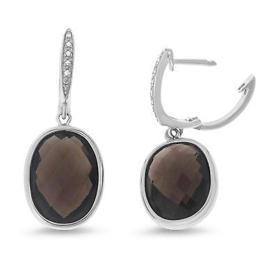 15.75ctw Genuine Natural Smoky Quartz and Diamond Earrings 14kt White Gold