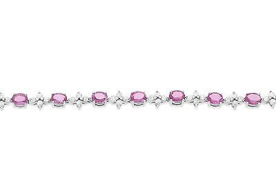 "7"" 8.27ctw Genuine Natural Pink Sapphire and Diamond Bracelet 18kt White Gold"