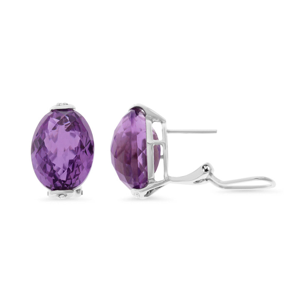 16.86ctw Genuine Natural Amethyst and Diamond Earrings 14kt White Gold
