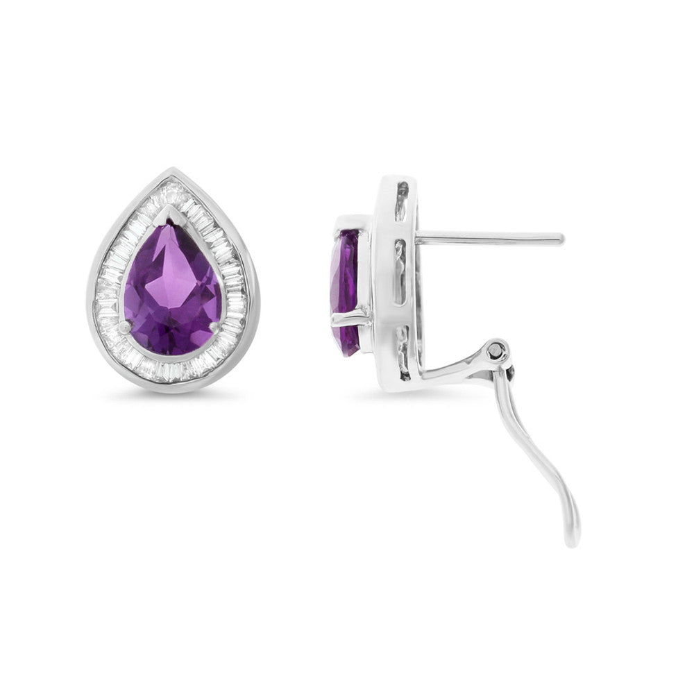 3.23ctw Genuine Natural Amethyst and Diamond Earrings 14kt White Gold