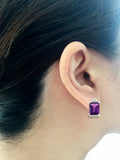 2.73ctw 6 x 8 mm. Emerald Cut Genuine Natural Amethyst and Diamond Earrings 14kt White Gold