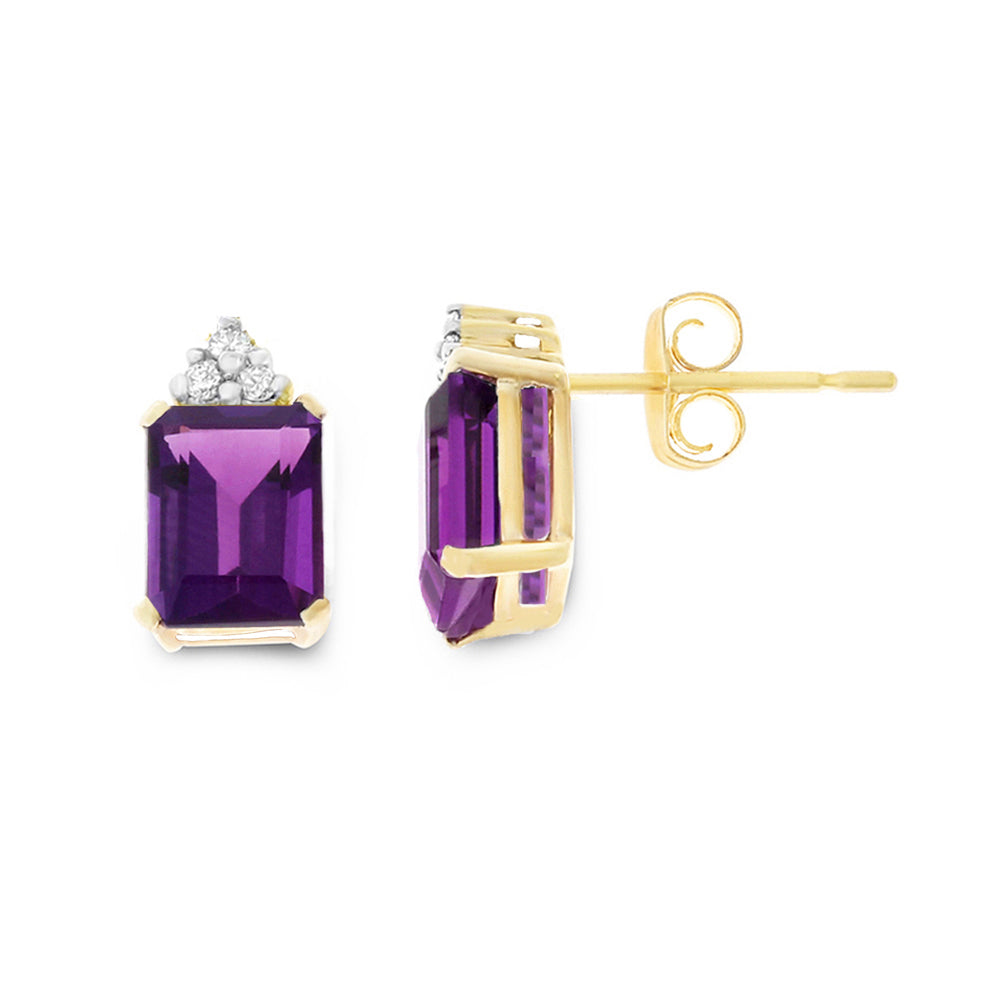 2.73ctw 6 x 8 mm. Emerald Cut Genuine Natural Amethyst and Diamond Earrings 14kt Yellow Gold