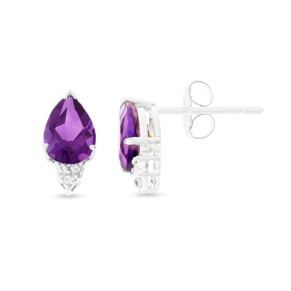 2.28ctw 6 x 8 mm. Pear Genuine Natural Amethyst and Diamond Earrings 14kt White Gold